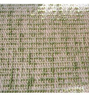 Detail olivovej jutovej podložky na jogu