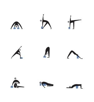 Cvičenie s joga blokom v pozíciach